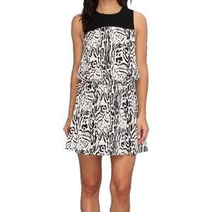 Joie Medium Blouson Silk Dress Animal Print Mini
